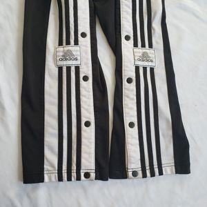 Vtg Adidas tear away snap button pant stripes